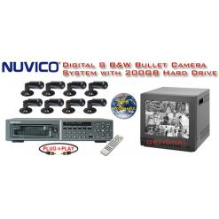 ***ALL DIGITAL *** 8 BLACK & WHITE CAMERA SYSTEM WITH DIGITAL MULTIPLEXER RECORDER  ***Professional Grade***