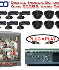 NUVICO 16 COLOR CAMERA SYSTEM WITH 8 INDOOR/OUTDOOR BULLET CAMERAS AND 8 INDOOR DOME CAMERAS