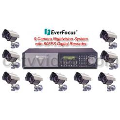 ALL DIGITAL 9 WEATHERPROOF INFRARED SECURITY CAMERA SYSTEM