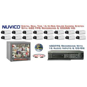 NUVICO REALTIME COMPLETE 16 HIGH RESOLUTION COLOR SECURITY CAMERA SYSTEM WITH 480FPS RECORDING  ***Professional Grade***