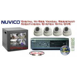 ALL DIGITAL NIGHTVISION VANDAL RESISTANT WEATHERPROOF DOME CAMERA SYSTEM WITH NUVICO DVR ***Professional Grade***