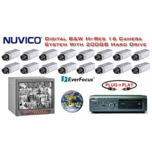 ***NEW*** NUVICO DIGITAL COMPLETE 16 CAMERA B&W HIGH-RES SYSTEM ***Professional Grade***