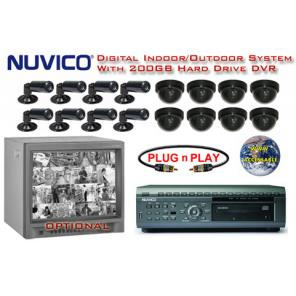 NUVICO 16 BLACK & WHITE CAMERA SYSTEM WITH 8 INDOOR/OUTDOOR BULLET CAMERAS AND 8 INDOOR DOME CAMERAS