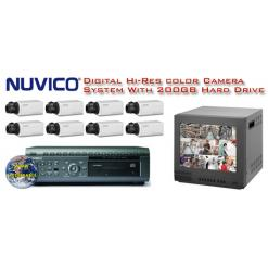 NUVICO ALL DIGITAL COMPLETE 8 COLOR CAMERA HIGH RESOLUTION SECURITY SYSTEM ***Professional Grade***