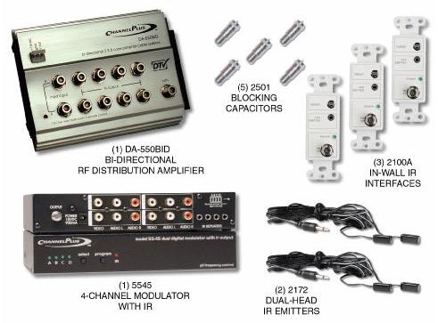 CHANNEL PLUS 5555BID BI-DIRECTIONAL RF DISTRIBUTION KIT WITH 12VOLT IR SYSTEM
