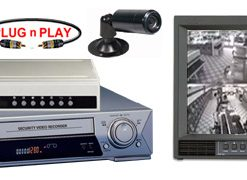 COMPLETE 2 B/W ANALOG SECURITY CAMERA SYSTEM WITH *** Samsung SRV-960 Hour Recorder***