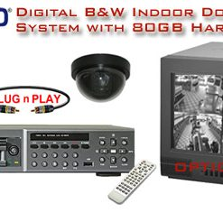 COMPLETE 2 BLACK & WHITE INDOOR DOME CAMERA SYSTEM WITH DIGITAL RECORDER