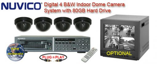 COMPLETE 4 BLACK & WHITE INDOOR DOME CAMERA SYSTEM WITH NUVICO DIGITAL RECORDER