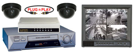 COMPLETE 2 B/W ANALOG DOME SECURITY CAMERA SYSTEM W/*Samsung SRV-960 Recorder*