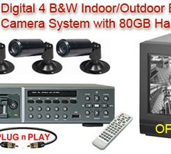 COMPLETE 4 B/W BULLET CAMERA SYSTEM WITH NUVICO DIGITAL RECORDER