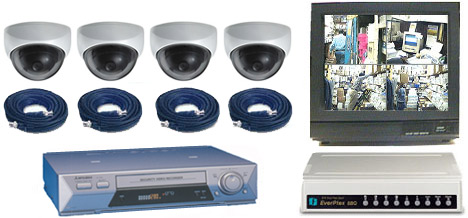 COMPLETE 4 ANALOG COLOR DOME SECURITY CAMERA SYSTEM W/*Samsung 960 Hour Recorder*
