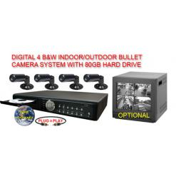 COMPLETE 4 B/W BULLET CAMERA SYSTEM WITH DIGITAL RECORDER