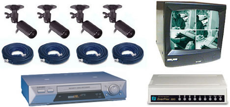 COMPLETE 4 B/W ANALOG SECURITY CAMERA SYSTEM W/ *** Samsung 960 Hour Recorder***