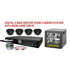 COMPLETE 4 BLACK & WHITE INDOOR DOME CAMERA SYSTEM WITH DIGITAL RECORDER