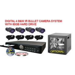 ALL DIGITAL 4 BLACK & WHITE IR NIGHTVISION CAMERA SYSTEM WITH CANTEK DIGITAL RECORDER  ***Professional Grade***