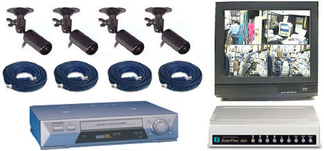 COMPLETE 4 ANALOG COLOR SECURITY CAMERA SYSTEM W/* Samsung 960Hour Recorder*