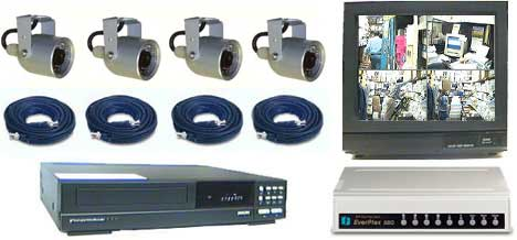 COMPLETE 4 COLOR INFRA RED CAMERA SYSTEM WITH *** Mitsubishi 1280 Hour Recorder***