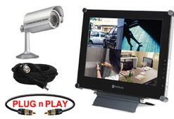 COMPLETE SINGLE CAMERA HI-RES NIGHTVISON CAMERA SYSTEM WITH LCD MONITOR